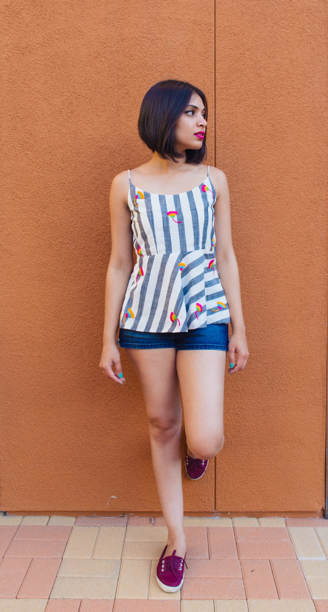 Embroidered Striped Peplum Tank