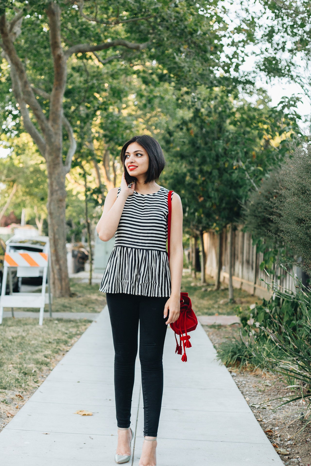 Monochrome Peplum Top