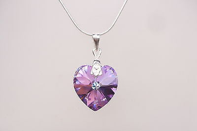 "PURPLE SWAROVSKI CRYSTAL HEART BRIDESMAID NECKLACE ""NEW ORLEANS"" (2 COLOURS)"