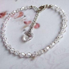 "CLEAR SWAROVSKI CRYSTAL BRIDESMAID BRACELET WITH HEART CHARM ""VALENTINE"" FROM SHEROCKSBRIDALJEWELLERY.COM"