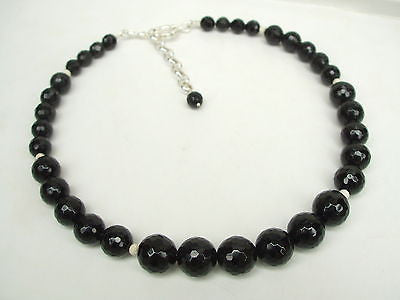 "CHUNKY BLACK ONYX NECKLACE STERLING SILVER NECKLACE ""COURAGE"""