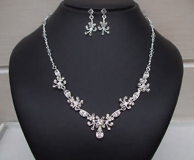 Crystal and diamante drop necklace and earrings set - The Beauty