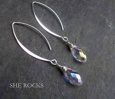 DESIGNER AB SWAROVSKI CRYSTAL WIRE WRAPPED EARRINGS -LONG STERLING SILVER HOOKS