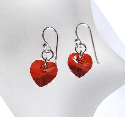 "RED SWAROVSKI HEART EARRINGS ""MAGMA"" available in 9 colours!"