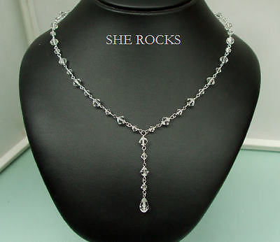 "CLEAR SWAROVSKI CRYSTAL WEDDING NECKLACE ""FLAIR"" BY SHEROCKSBRIDALJEWELLERY.COM"