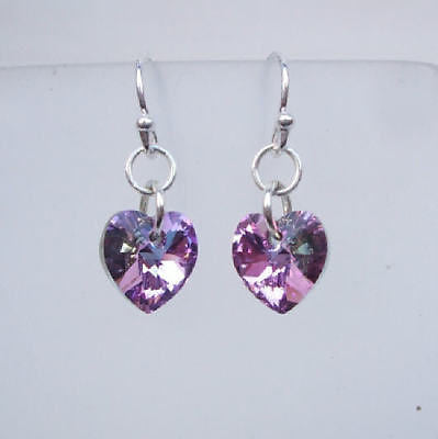 Vitrail purple Swarovski crystal heart earrings - bridesmaid gift