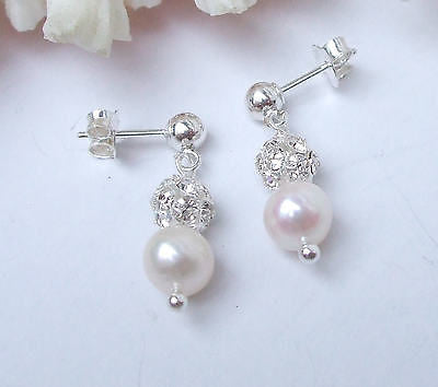 Freshwater pearl and diamante earrings - Sterling Silver - Snowflake