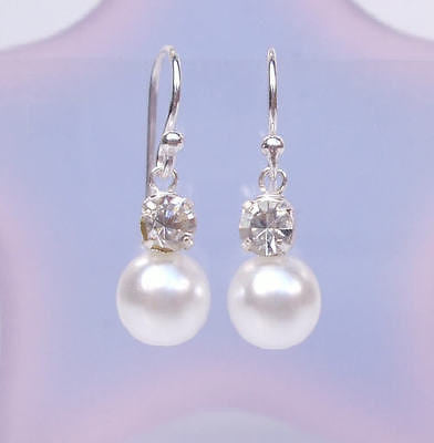"CLASSIC STERLING SILVER PEARL AND DIAMANTE EARRINGS ""SPARKLY PEARLS"""