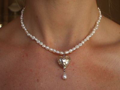 "Designer Freshwater pearl and Silver Heart necklace ""Heart Whispers""by sherocksbridaljewellery.com"
