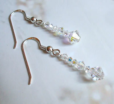 "Dainty Swarovski crystal drop earrings ""Sunrays"""