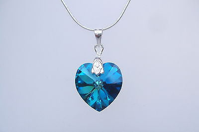 "BLUE SWAROVSKI CRYSTAL HEART NECKLACE ""BERMUDA NECKLACE"""