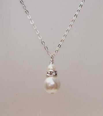 Sterling Silver pearl wedding necklace - Anne
