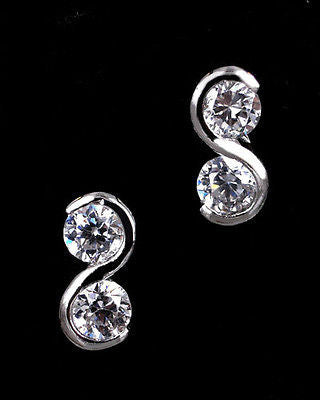 "SMALL STERLING SILVER CZ DIAMOND STUD EARRINGS ""Double Joy"""