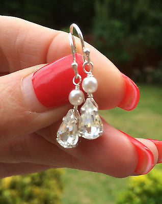 Diamante teardrop and pearl bridal earrings - Tear of Joy-She Rocsk bridal jewellery