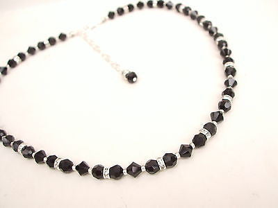 "HANDMADE SWAROVSKI CRYSTAL NECKLACE ""BLACK GALA"" (3 COLOURS)"