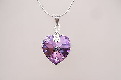 "Purple Swarovski heart necklace ""New Orleans"""