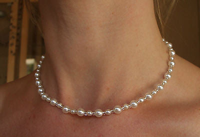 "SILVER PEARL NECKLACE ""PEARLS FROM HEAVEN"""