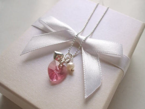 "SWAROVSKI HEART BRIDESMAID NECKLACE ""CUPID"" (8 colours)"