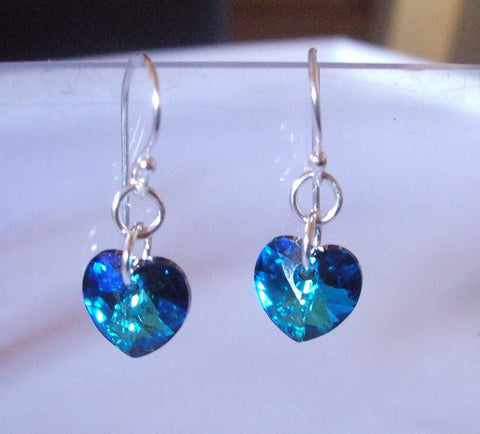 Bermuda Blue Swarovski crystal heart earrings - Sterling Silver Bridesmaid earrings