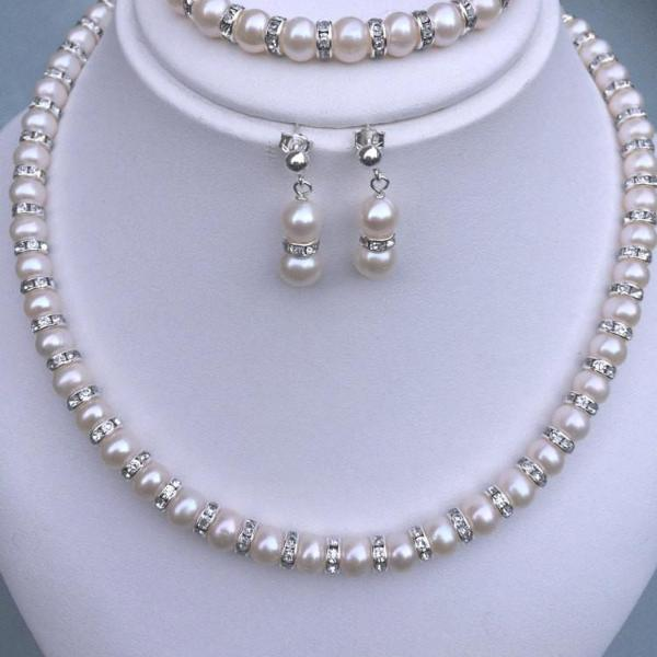 "FRESHWATER PEARL AND DIAMANTE BRIDAL NECKLACE ""CLASSY"""