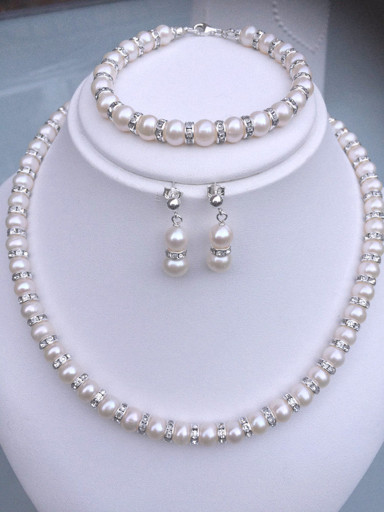 "FRESHWATER PEARL AND DIAMANTE BRIDAL JEWELLERY SET ""CLASSY"" FROM SHEROCKSJEWELLERY"