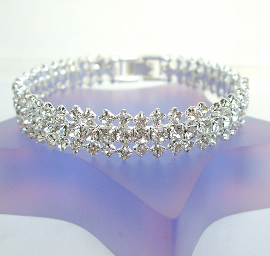 "FINE DIAMANTE BRIDAL CUFF BRACELET ""CRYSTAL DANCE"""