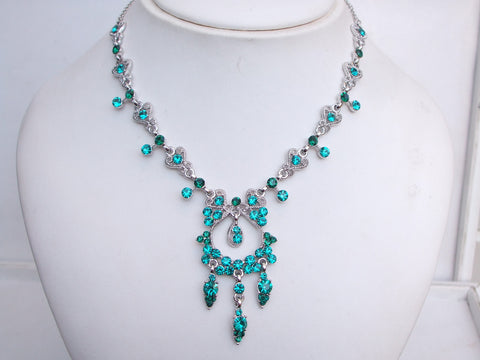 blue - green vintage crystal necklace - Lady -Mother of the bride- sherocksbridaljewellery.com