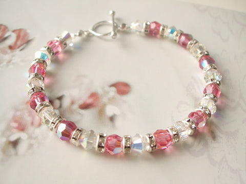 Pink Swarovki crystal and Sterling Silver bridesmaid bracelet- Sugar babe