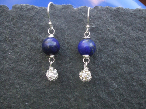 HANDMADE BLUE LAPIS GEMSTONE EARRINGS WITH DIAMANTE BALLS - STERLING SILVER- FROM SHE ROCKS