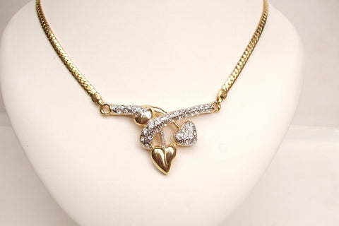 "Gold heart necklace with diamante's ""Heart of Gold"" mother of the bride necklace from sherocksbridaljewellery.com"
