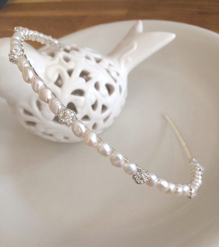 "Simple Freshwater pearl and diamante bridal headband ""Fairydust"""
