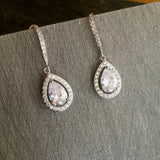 "CLEAR CZ TEARDROP WEDDING EARRINGS CUBIC ZIRCONIA  ""FEMME FATALE"""