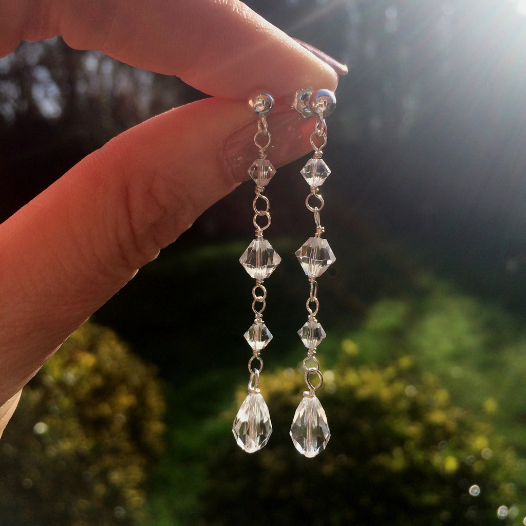 "LONG SWAROVSKI CRYSTAL DROP WEDDING EARRINGS STERLING SILVER ""FLAIR"""