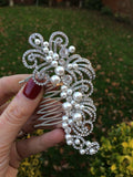"VINTAGE DESIGN DIAMANTE AND PEARL wedding HAIR COMB  ""GATSBY"" from sherocksbridaljewellery"