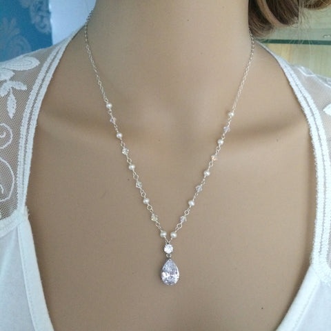 "HANDMADE CZ DROP BRIDAL NECKLACE STERLING SILVER SWAROVSKI CRYSTAL AND FRESHWATER PEARL ""GODDESS"""
