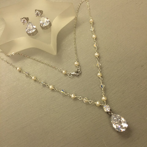 "FRESHWATER PEARL & SWAROVSKI DROP BRIDAL JEWELLERY SET ""GODDESS"" STERLING SILVER"