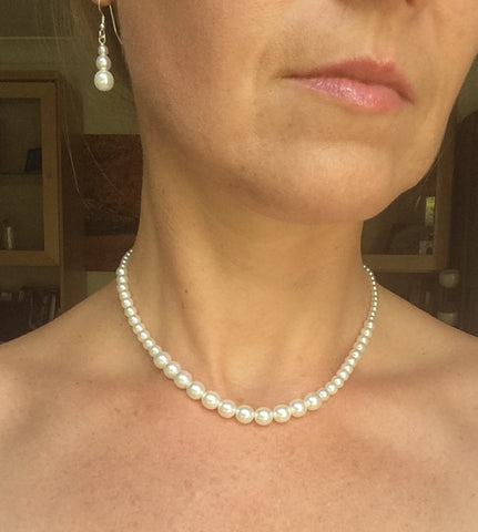 "CLASSIC PEARL WEDDING JEWELRY SET ""GRACE"""