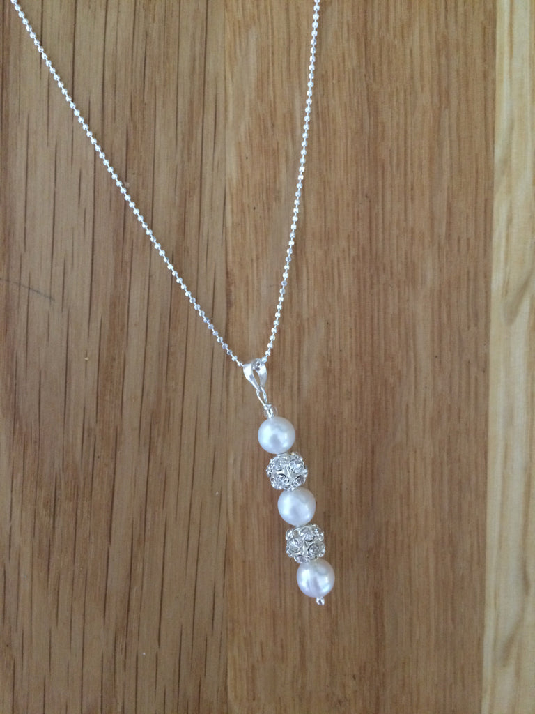 "Sterling Silver Freshwater pearl and diamante necklace ""snowflake"""