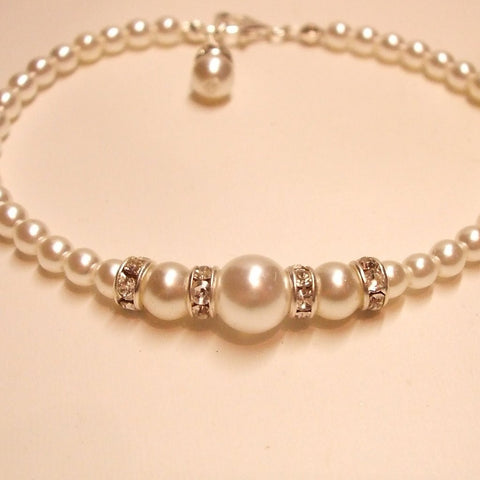 "CLASSIC PEARL AND DIAMANTE BRIDAL BRACELET ""KATHRYN"""