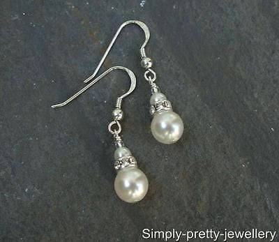 Vintage pearl and diamante drop earrings - Sterling Silver