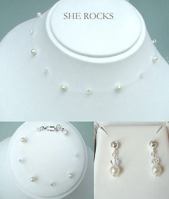 Swarovski Crystal and Freshwater pearl illusion bridal jewellery set - Gazelle-mixed