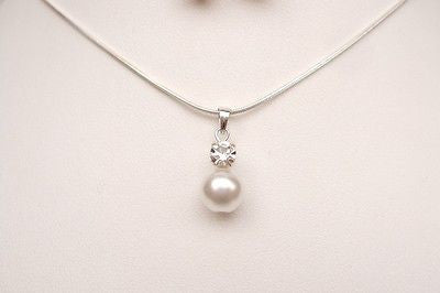 Sterling Silver pearl bridal necklace - Sparkly Pearls -She Rocks