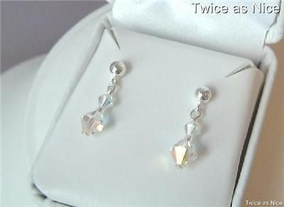 "AB SWAROVSKI CRYSTAL DROP EARRINGS ""DIAMONDS"""