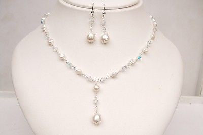 Crystal and Freshwater Pearl jewelry set necklace and earrings set - Capture my heart