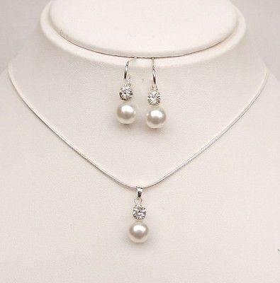 Sterling Silver pearl and diamante jewelry set - Sparkly Pearls