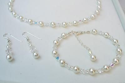 Crystal and pearl bridesmaid jewellery set - Vanessa