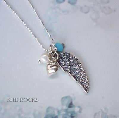 "STERLING SILVER ANGEL WING NECKLACE PERSONALISED BIRTHSTONE GIFT ""ANGEL WING"""