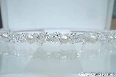"Freshwater pearl and Swarovski crystal bridal headband ""Charlotte"""