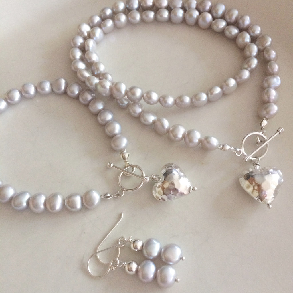 "SILVER GREY FRESHWATER PEARL JEWELRY SET ""MELODY"" MOTHER OF THE BRIDE & GROOM"