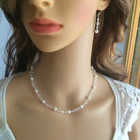 "SWAROVSKI CRYSTAL AND PEARL BRIDAL NECKLACE ""NATALIA"""